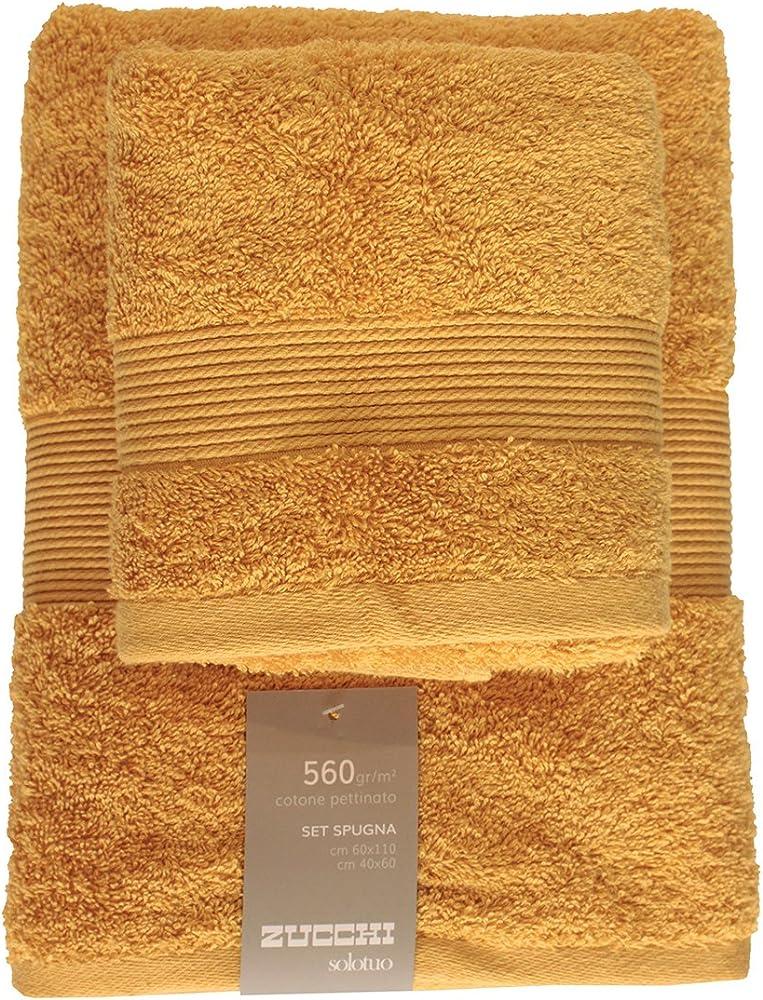 Zucchi solotuo,set 2 asciugamani,100% spugna di puro cotone ZOLFO - 1427
