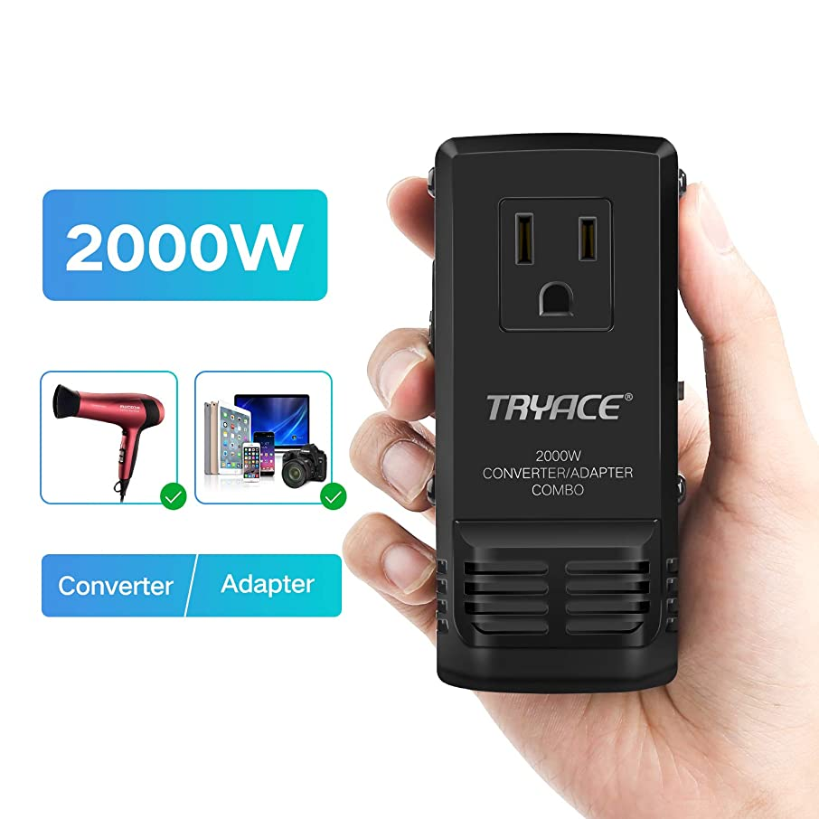 TryAce Travel Voltage Converter for Hair Dryer Steam Iron Laptop MacBook Cell Phone, Power Converter Set Down 220V to 110V, World Plug Travel Adapter for US/UK/AU/EU Worldwide Plug for 190+ Countries