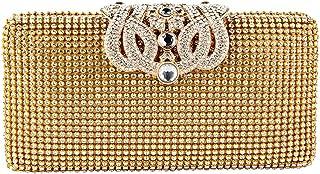 Womens Diamante Crystal Diamond Crown Evening Bag Unique Clasp Clutch Purse Party Bridal Prom