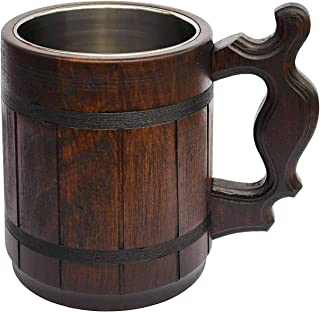 Handmade Halloween Mug 20 oz Stainless Steel Cup Carved Natural Beer Stein Old-Fashioned..