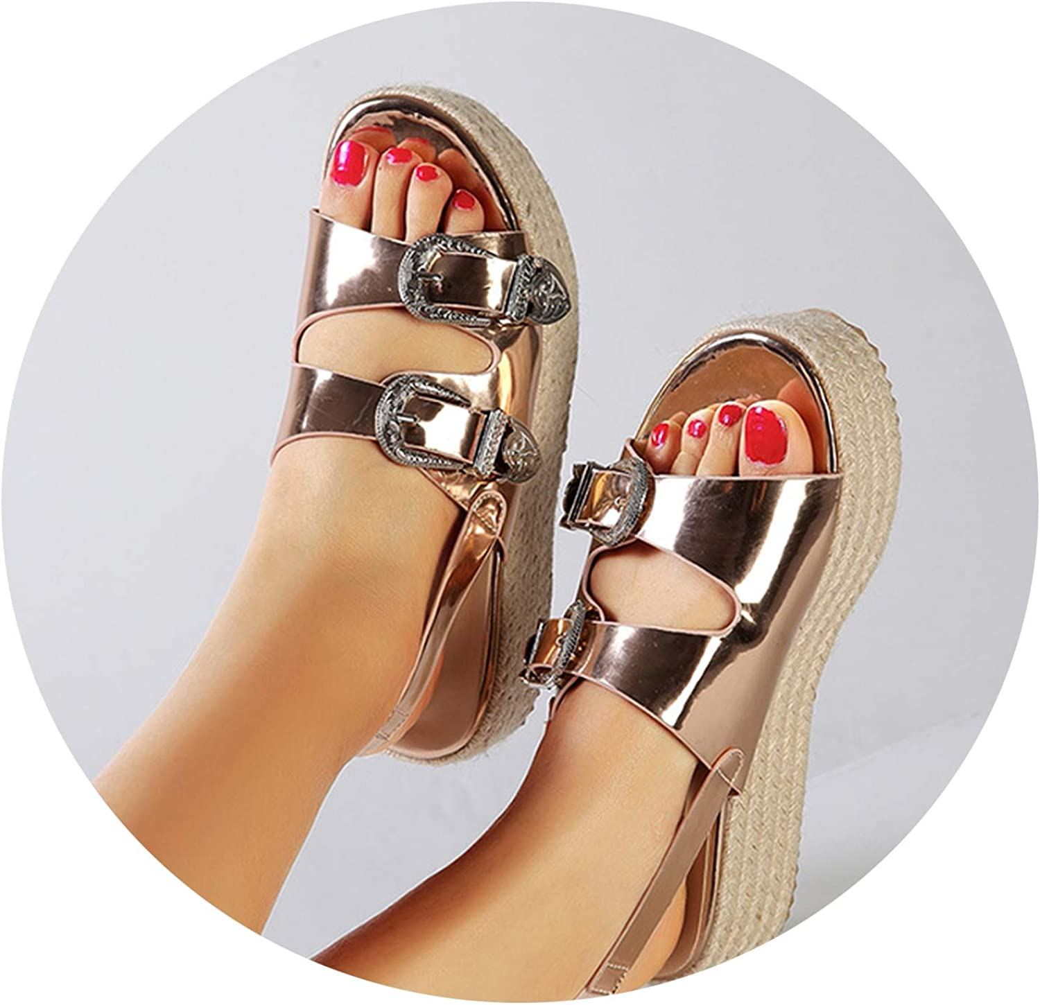 Luuvy-shop sandal High Wedge Beach Sandals High Heels Peep-Toe Buckle Platform shoes Woman Wedges shoes