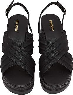 Shoexpress Keef Women Wedge Sandals,39,Black