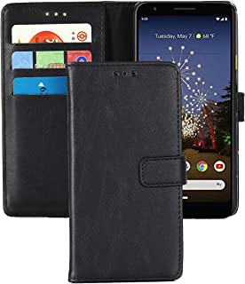 Pixel 3a Leather Phone Case,Wallet Cover for Pixel 3A,CH-IC Folding Flip Protective Shockproof Shell with Kickstand Magnetic Closure Card Holders for Google - Pixel 3a 2019 (Black)