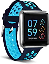 iTouch Air Special Edition Smartwatch Heart Rate Monitor, Blood Oxygen Monitor, Pedometer, for Android and iOS Smart Phones - Perforated Silicone Strap Navy/Turquoise, 45mm (Medium/Large)