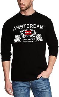 Coole-Fun-T-Shirts Amsterdam Head Shop langarmtshirt schwarz Longsleeve