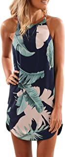 Women's Sleeveless Printed Flower Style Casual Floral Mini Dress