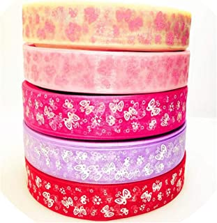 5Meters/Lot 25mm Cartoon Butterfly Ribbons Printed Organza Ribbon Tape for Needlework DIY Gift Wrapping Decoration,2Mix