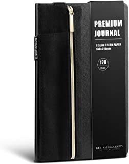 Journal Notebook Set, with Bind Pencil Case, Classic Black Hard Cover, Premium Cream Inner Paper, Fine Inner Pocket, Integrated Bookmark and Elastic Closure, 128 Pages, 5x8.25inch Size (Dotted)
