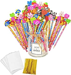 JZK 50 x Wooden Graphite Pencils Set with Cartoon Rubber erasers for Kids Children Party Favours give Away Thank You Gift Party Bag Filler Birthday for Boys Girls