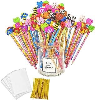 JZK Set 50 lápiz de Madera con Goma lápices Grafito con Borrador para niños Infantiles Fiesta Regalo cumpleaños Navidad Bautizo comunión premios Escolares