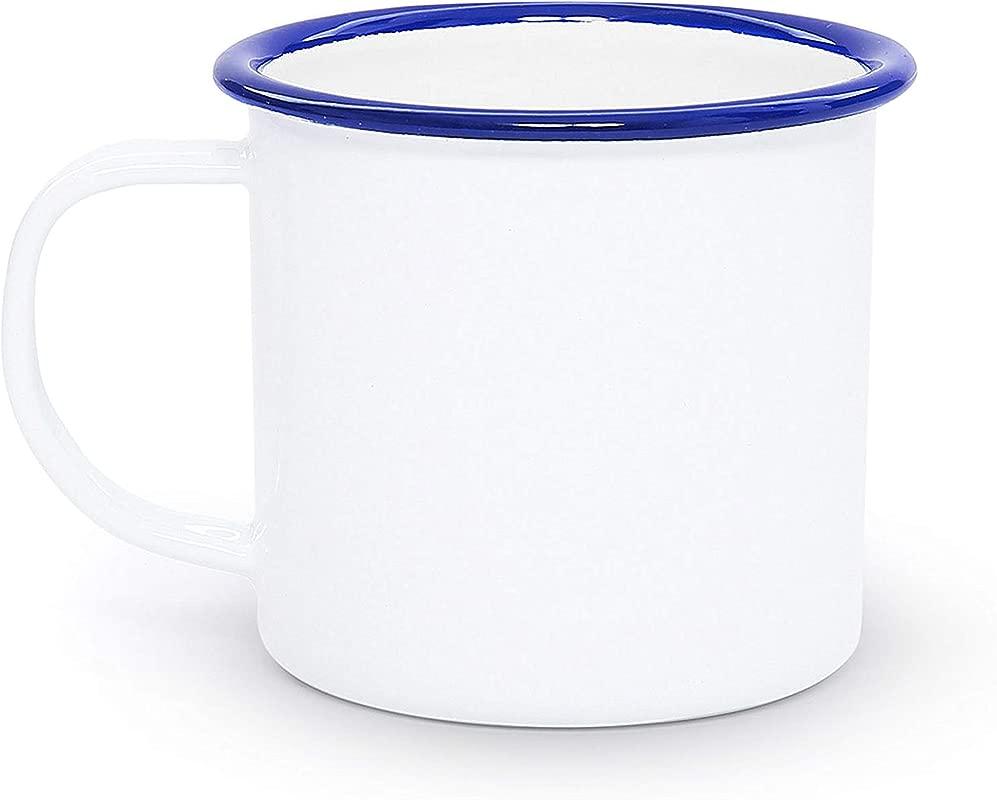 Enamelware Mug 12 Ounce Vintage White Blue Set Of 4