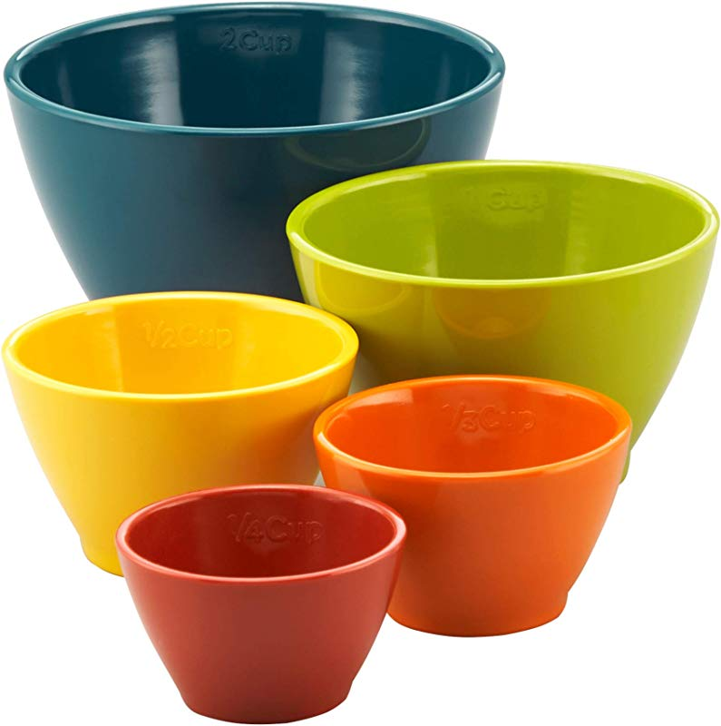 Rachael Ray Melamine Nesting Measuring Cups 5 Piece Set Assorted