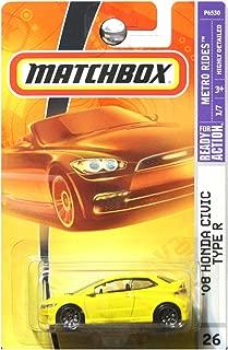 Matchbox Honda Civic R 2009 Metro Rides Series Yellow '08 Honda Civic Type R 1:64 Scale Collectible Die Cast Car #26