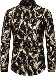 XWLY Men Shirt Men Shirt Fashion Trend Casual Slim Feather Pattern Button Long Sleeve Spring and Autumn Holiday Wedding Pa...