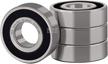 XiKe 4 Pcs 6202-2RS Double Rubber Seal Bearings 15x35x11mm, Pre-Lubricated and Stable Performance and Cost Effective, Deep Groove Ball Bearings