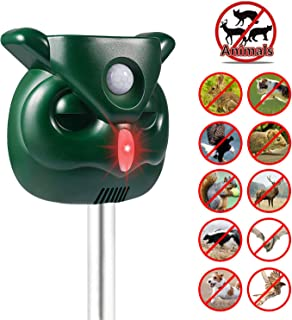 Ofimon Solar Animal Repeller, Waterproof Outdoor Animal Repellent with Motion PIR Sensor and Flashing Light for Cats, Dogs, Squirrels, Moles, Rats, Deer, Foxes, Raccoons