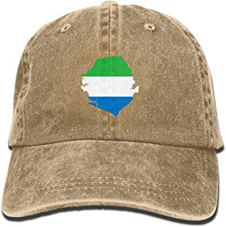 Sierra Leone Flag Map Unisex Adjustable Baseball Caps,Individuality Summer Vintage Washed Dyed Cotton Dad Trucker Cowboy Hat for Outdoor Sport