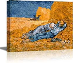 wall26 Noon: Rest from Work (After Millet) Vincent Van Gogh - Oil Painting Reproduction on Canvas Prints Wall Art, Ready to Hang - 12x18 inches