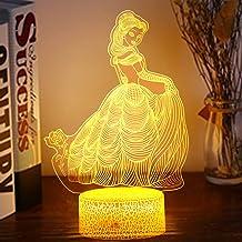 3D prinses nachtlampje, meisjesslaapkamer decoratielicht, 16 kleuren bediend door aanraking en afstandsbediening, geschikt...