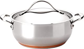 Anolon 75855 Nouvelle Stainless Steel Frying Pan/ Fry Pan/ Saute Pan/ Chefpan with Lid - 4 Quart, Silver