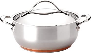 Anolon Nouvelle Stainless Steel Frying Pan/ Fry Pan/ Saute Pan/ Chefpan with Lid - 4 Quart, Silver