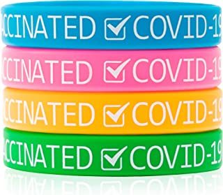 GROBRO7 24Pcs Vaccinated Silicone Wristbands Vaccinated Covid-19 Bracelets for Vaccination Identification Support for Scie...
