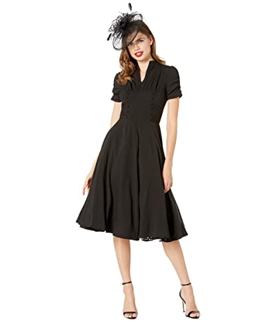 Unique Vintage 1940s Style Camilla Midi Dress (Black) Women
