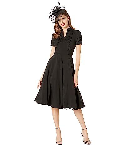 Unique Vintage 1940s Style Camilla Midi Dress (Black) Women