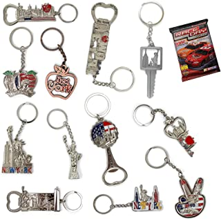 New York NYC Bundle Souvenir Metal Keychain 12 Pack~Statue Of Liberty,Usa Flag,World Trade Center,Empire State Building,