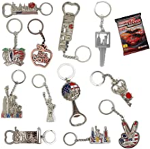 New York NYC Bundle Souvenir Metal Keychain 12 Pack~Statue Of Liberty,Usa Flag,World Trade Center,Empire State Building,Bottle Opener too & More-Bonus a Race Day Car