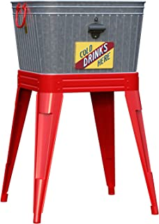 """Panacea 093432867969 86796 1 Count Rustic Washtub Beverage Stand with Bottle Opener, 18 x 7.5 x 12 with 25"""", Red"""