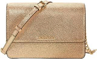 Women's Gold Leather Large Crossbody Bag