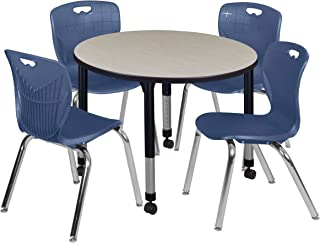 Regency TB36RNDPLAPCBK40NV Kee Height Adjustable Mobile Classroom Table Set with Four 18