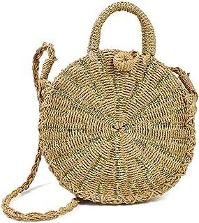 Adebie - Summer Beach Round Women Straw Crossbody Bag Fashion Brand Female Handbag Designer Shoulder Bag Small Tote Bag for Ladies Gold []