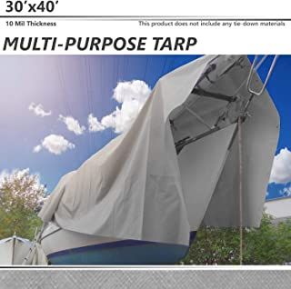 BOUYA 30' x 40' Tarp 10-mil Heavy Duty Thick Material, Multi-Purpose Waterproof Reinforced Rip-Stop with Grommets, UV Resistant, for Tarpaulin Canopy Tent, Boat, RV or Pool Cover, Silver