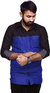 REBANTA Denim Cotton Casual Shirt for Men in Regular and Big Size Black Blue Plain