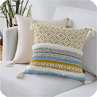 Blue Yellow Pink Cushion Cover Tassels Moroccan Style Pillow Cover Woven for Home Decoration Sofa Bed 45x45cm,Yellow