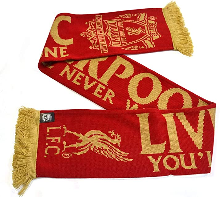 Liverpool FC Youll Never Walk Alone Red Gold Crest Liverbird Scarf LFC Official