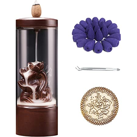 Wifehelper Backflow Incense Burner Incense Holder R/äuchergef/ä/ß Smoke Backflow Incense Burner Decor Ornament mit Acrylabdeckung