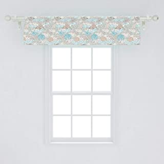 Ambesonne Nautical Window Valance, Pastel Toned Sea Shell Starfish Mollusk Seahorse Coral Reef Motif Design, Curtain Valance for Kitchen Bedroom Decor with Rod Pocket, 54