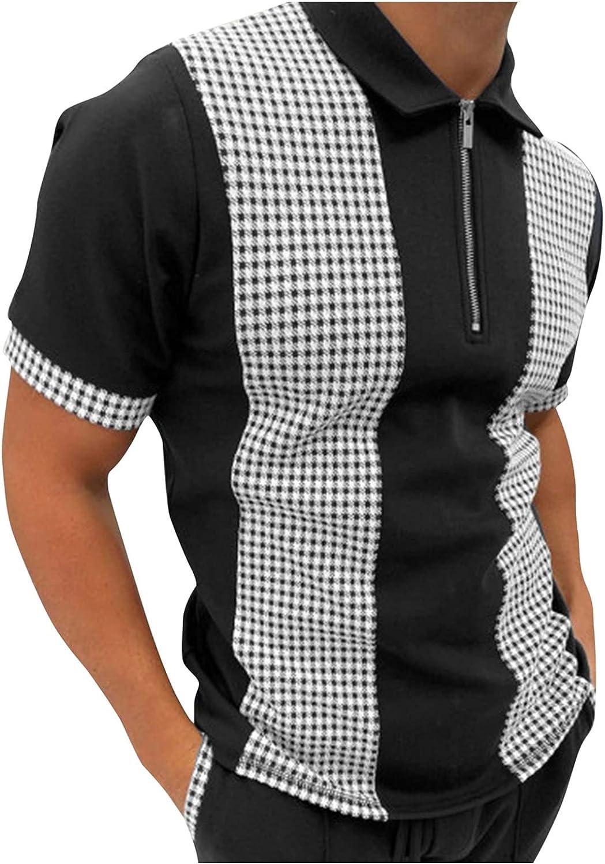 xoxing Short Sleeve for Men Casual Plus Size Loose V-Neck Zipper Turn-Down Collar Splice Polos Shirt Blouse