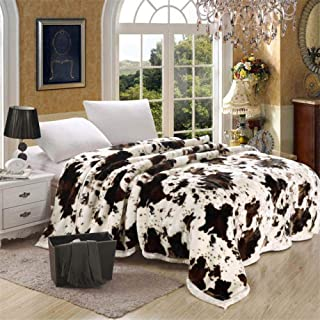 Super Soft Blanket Flower Print Double Layer Queen King Size Double Bed Thick Warm Winter, Cow Skin,150X200CM 2.5KG