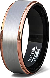8mm Tri Color Tungsten Ring Rose Gold Black Brushed Surface Step Edge Comfort Fit