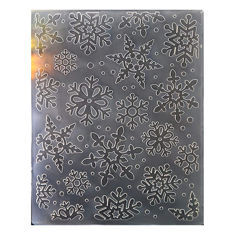 Kwan Crafts Christmas Snowflake Plastic Embossing Folders for Card Making Scrapbooking and Other Paper Crafts, 12.1x15.2cm