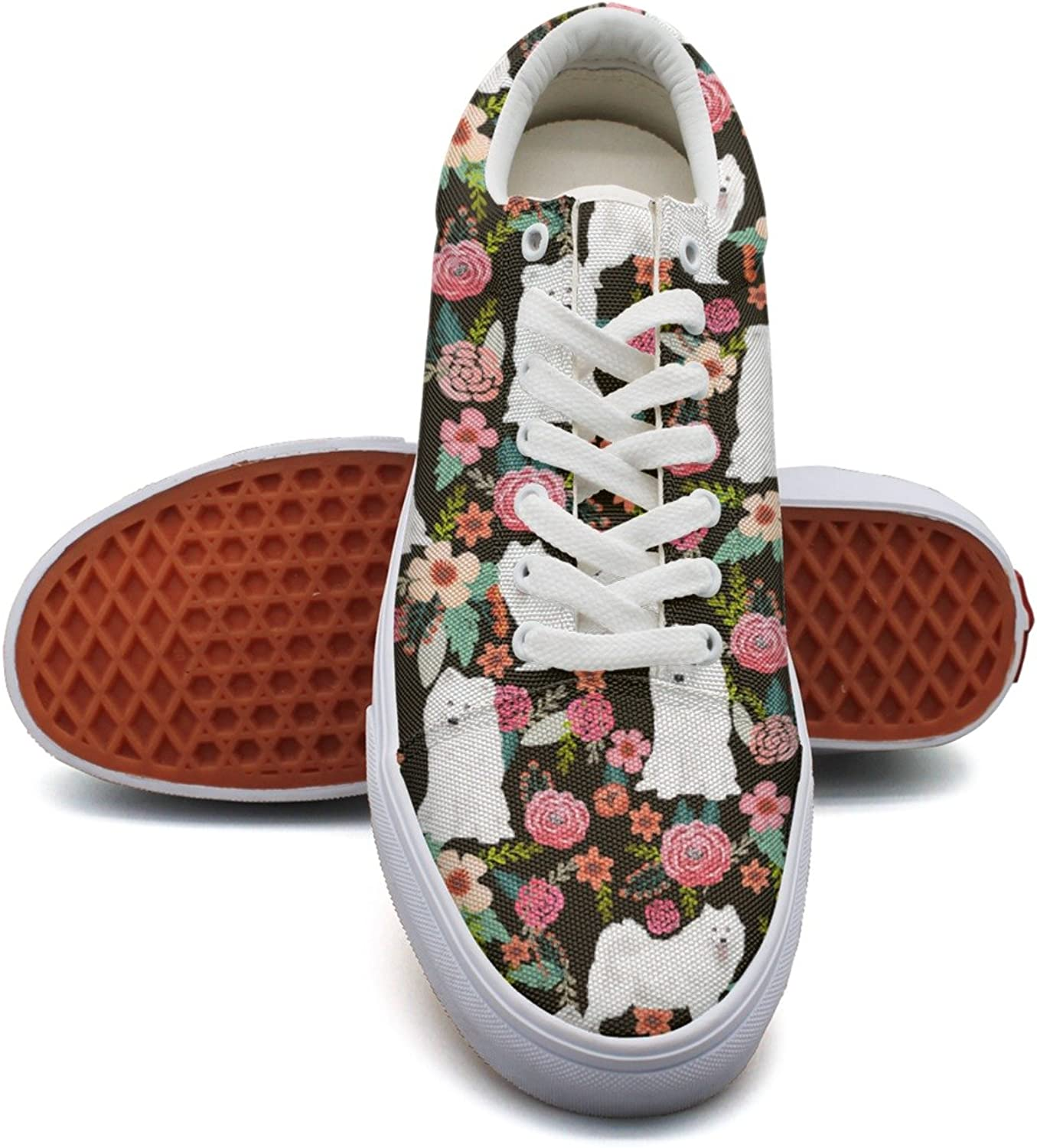 Feenfling Samoyed Dog Vintage Floral Womens Fashion Canvas Tennis shoes Low Top Hip Hop Sneaker for Women