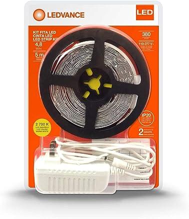 EcoKit, Fita LED, Plug & Play, 4.8W/827, IP20, 380 Lúmens/Metro, 110, 277V, 2700K, 5 Metros com Fonte Inclusa na Embalagem, Ledvance Osram, 7014746, 24 W, Amarela