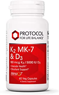 Protocol for Life Balance - K2 MK-7 and D3 - Vascular Health and Structural Support, Bone Strength, Appetite Suppressant, ...