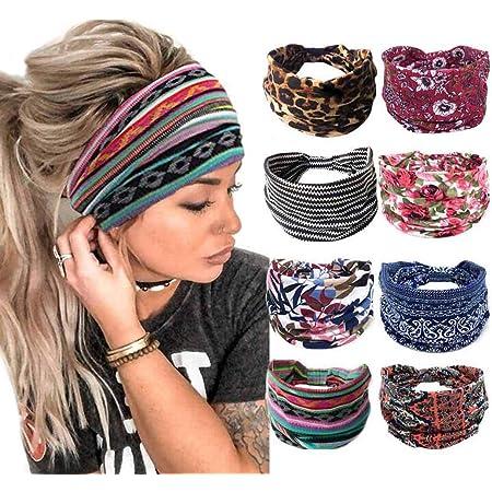 Boho Womens Floral Elastic Hair Band Stretch Wide Sports Yoga Headbands Headwrap