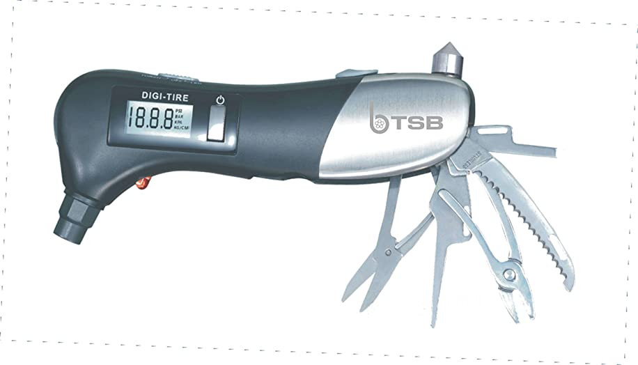 9 in 1 Tire Pressure Gauge Digital 150 PSI, Led Flashlight Glass Hammer Seatbelt Cutter for Car, Truck, Motorcycle, Bike