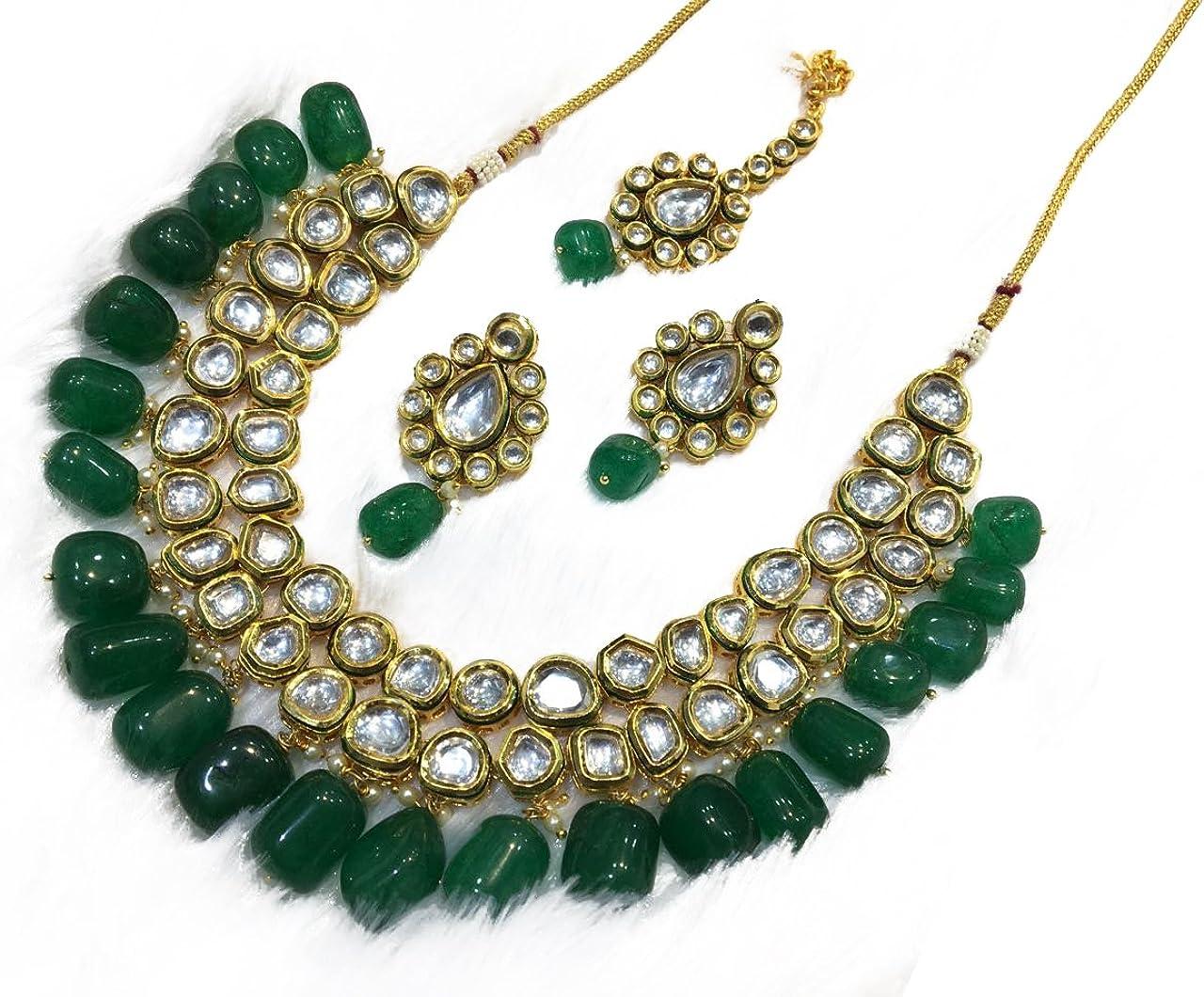Babosa Sakhi Kundan Polki Green Necklace Tika Earring Jewelry